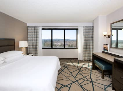 Presidential Suite Bedroom with King Bed, Television and Outside View