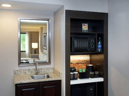 Guestroom Wet Bar Kitchen Area with Microwave, Coffee Maker and Mini Fridge