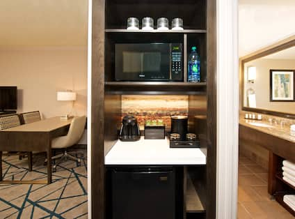 Suite Living Area Corner Kitchen with Microwave, Coffee Maker and Mini Fridge