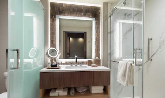 Guest Bathroom with Vanity and Walk-in Shower