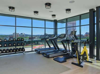 Exercise Equipment in Fitness Center with Outside View