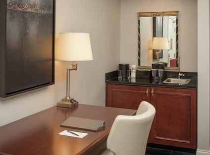 Suite Work Desk and Wet Bar