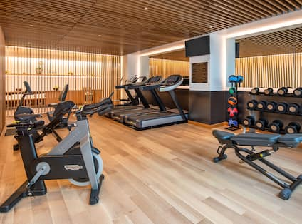 Fitness Center with Cardio Equipment and Weights Rack