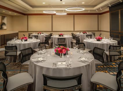 Hilton Hotel Captain Gray Banquet Hall with Round Tables Setup