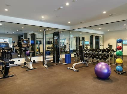 Fitness Center with Balance Ball, Elliptical Machines, Weights, and Dumbbells