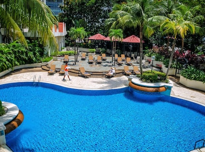Outdoor Pool area  with loungers