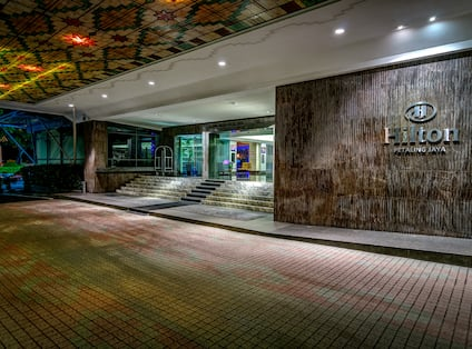 Hotel Exterior Entrance at Night