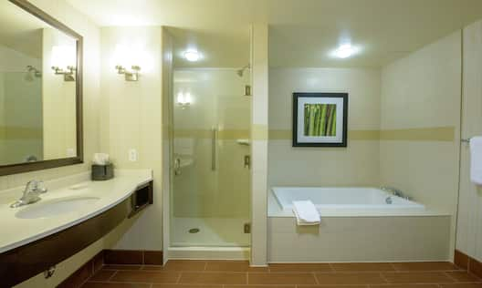 Large Vanity Mirror, Sink, Shower With Glass Doors, and Tub With Wall Art and Fresh Towels in Suite Bathroom