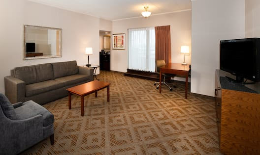 Executive suite features a separate living room and work area.
