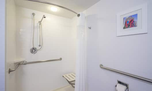 Accessible bathroom with roll-in shower, seat, and handrails