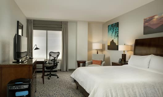 Accessible Guest Room with King Bed, Television and Work Desk