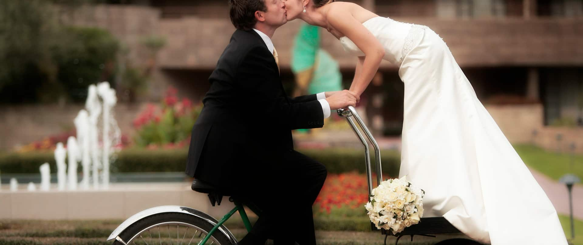 Wedding Kiss on Bicycle in color