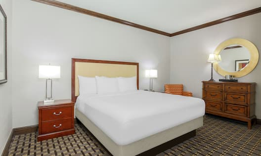 A room with a large bed