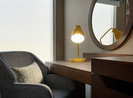 Guestroom with Work Desk Chair and Lamp