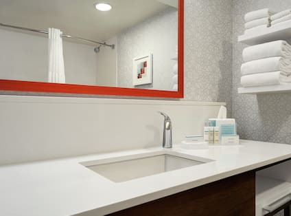 Guest Bathroom with Vanity and Mirror