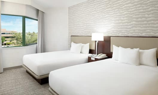 Guestroom Suite with Two Beds and Outside View