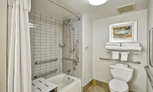A Guest Bathroom with Roll-in Shower