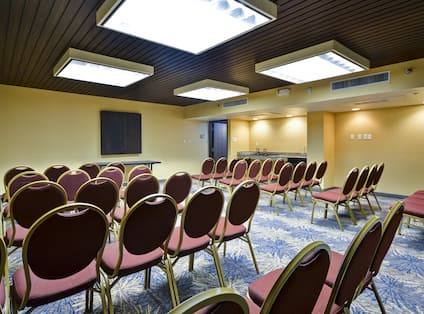 A large room with many chairs