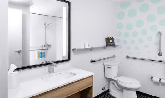 ADA Bathroom Vanity showing Roll-In Shower Reflected in Mirror