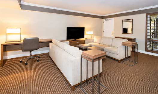 Lounge area with work desk and TV