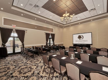 Large Conference Center Setup Classroom Style with HDTV