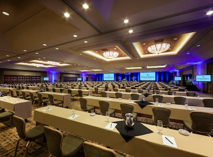 Classroom Setup in Ballroom with Projector Screens