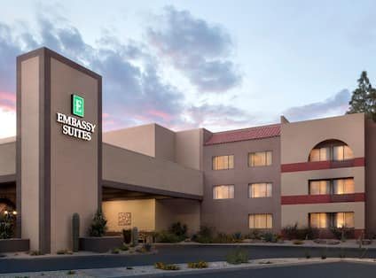 Hotel exterior with signage