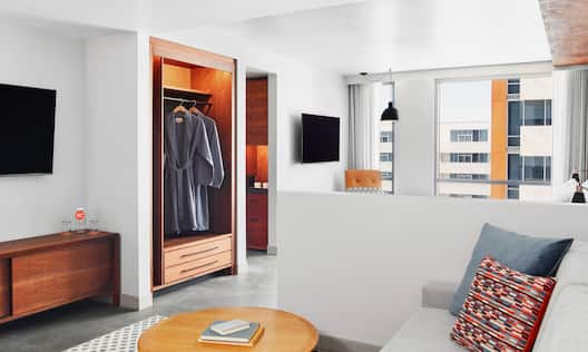 Living area with chair and closet