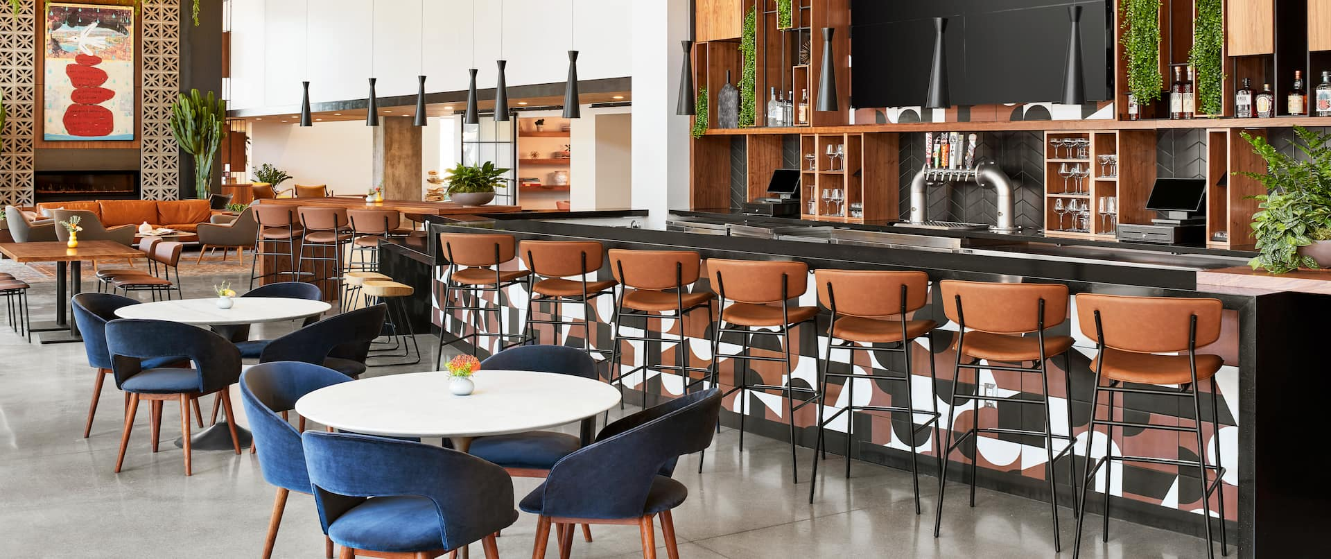 Bar area with tables and stools