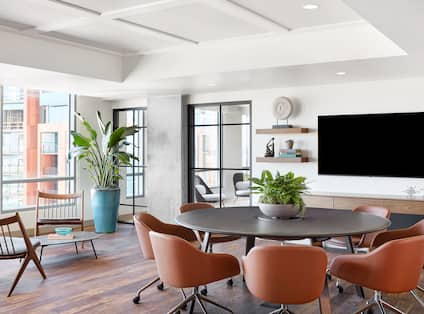 Business center with tables and chairs