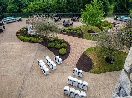 Aerial View of Courtyard and Garden with Seating Area