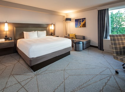 Large Bed in Guest Room with Soft Seating Area