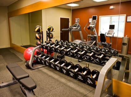 Fitness Center With Weight Bench, Free Weights, Red Exercise Ball, and Weight Balls, Mirrored Wall With Reflection of Cardio Equipment, Window, Water Cooler, and Scale