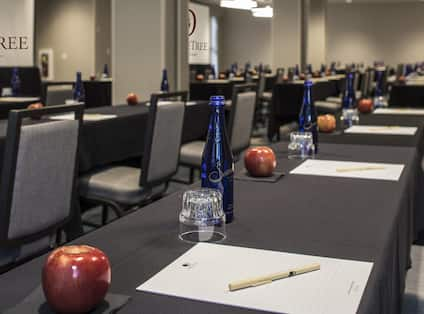 Meeting Room Classroom Setup Close-Up of Table, Apple, Paper, Pen and Glass