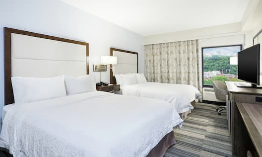 Queen Guestroom with Two Queen Beds, Room Technology, Work Desk, and Outside View
