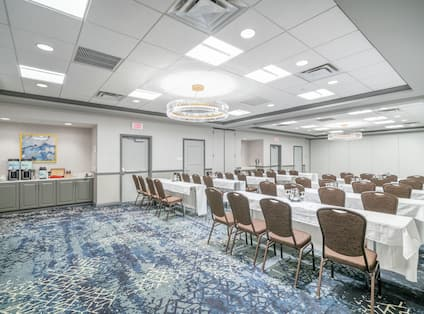Meeting space with tables and chairs