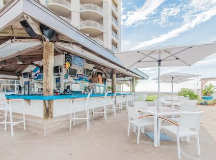 Outdoor Pool Bar Patio Seating Area