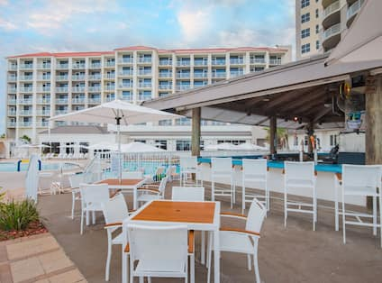 Outdoor Pool Bar Seating Area