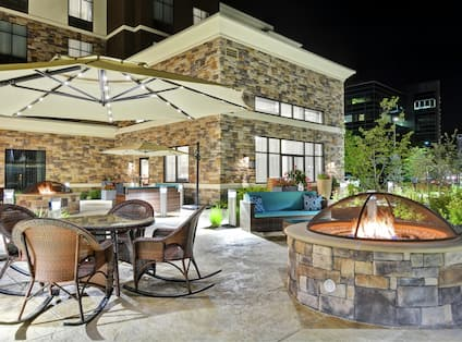 Patio at Night with Fire Pit and Seating Area