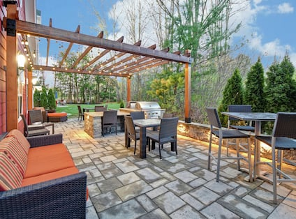 Outdoor Patio with Seating and Grills