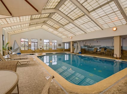 Indoor Pool with Lounge Chairs on Deck