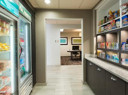 Snack shop suite with snacks, beverages, and frozen food selections