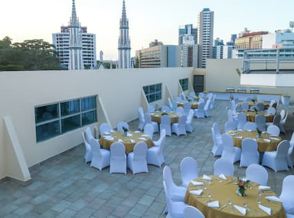 Round Tables Set up for Event on Hotel Rooftop
