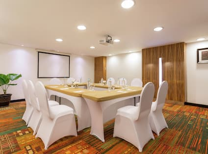 Hotel Meeting Room Set up for 10 Guests