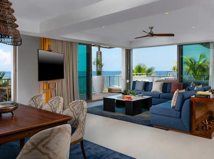 Grand Suite Living Area and Terrace with Ocean View