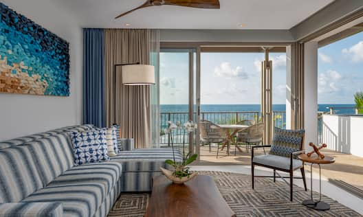 King Suite Oceanfront Living Room and Balcony Area