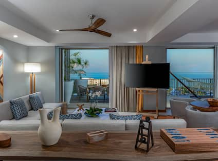 Penthouse Suite Living Area with Balcony and Ocean View