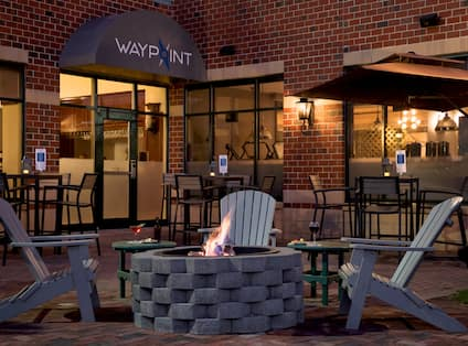 Waypoint Restaurant Patio with Lounge Chairs and Firepit