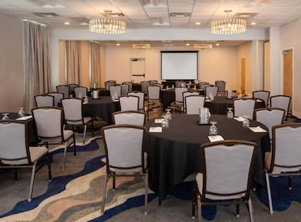 Meeting Room Setup with Round Tables