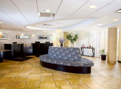 Wall Art Behind Front Desk With Three Reception Stations, Soft Seating, and Large Windows With Sheer Drapes in Front Lobby